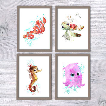 Finding Nemo Disney, Set of 4, Nursery poster, Print Set, Nemo, Squirt, Sheldon, Pearl, Art nautical animal art, Kids room, fish décor, V35