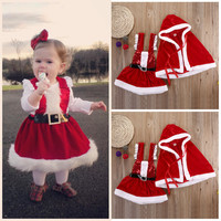 Infant Baby Girl Clothes Chrismas Clothes Sets Dress Cloak Coat Party Warm Christmas 2pcs Outfits Set Clothing Baby Girls