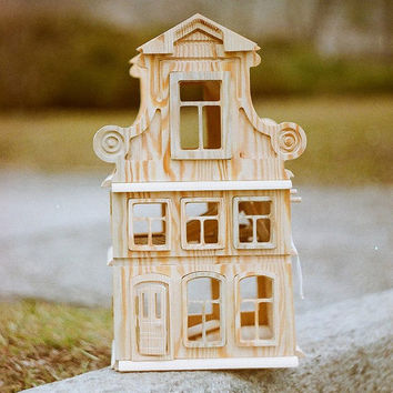 doll house wooden structures Construction Set House Little house Toy wooden House candlestick lamp