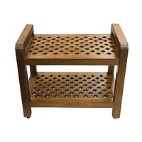 Ala Teak Shower Seat Bench with Storage Shelf for Seating, Support & Relaxation, Spa Bath Bench Stool Perfect for Indoor or Outdoor Use
