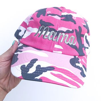 MAMA Pink Camo Embroidered Baseball Cap
