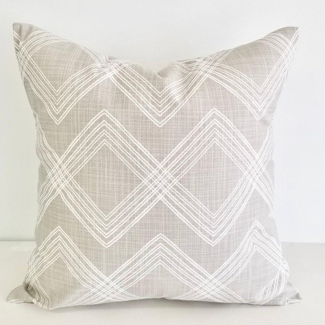 Image of Colton Print Pillow Cover - French Grey