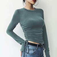 Autumn new wild college wind pleated long-sleeved T-shirt bottoming shirt
