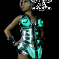 Women LED Robot Suit Dance Costume Night Clubs Event Party