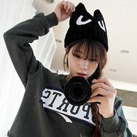 LOCOMO Cute Big Eye Embroidery Devil Horn Cat Ear Knit Beanie Hat FFH223BLK