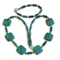 Green Fossil Coral Malachite Jewelry Set, Necklace Bracelet, Big Bold Chunky, Semiprecious Stones, Natural Statement Jewelry, OOAK Unique