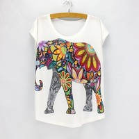 Floral Elephant Print Cute Womens Graphic Tee