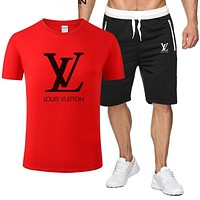 Louis Vuitton LV Classic hot sale printed letter logo hooded T-shirt Shorts two-piece suit Bag Shoes Red