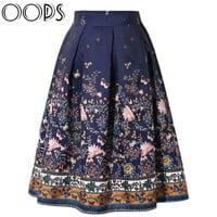 OOPS 2016 New Design Midi Skirts Vintage Floral Printed Swing Pleated Flared Women Skirt A1602008