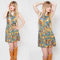 Vintage 70s Green FLORAL Mini Dress Gold & Blue Flower Print Hippie Mini Dress Sleeveless Dress