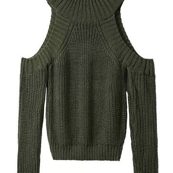 Olive Green Off The Shoulder Soft Knitted Sweater