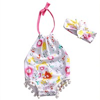 Summer born Baby Girl Floral Tassel Romper Halter Jumpsuit +Headband Outfits Summer Sun-suit Clothes Play suit 0-18M
