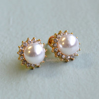 Ladybird Pearl Stud Earrings