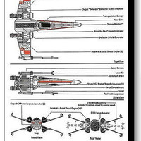 Framed Star Wars X-Wing Fighter 9 X 11 inch Schematic Diagram Plans