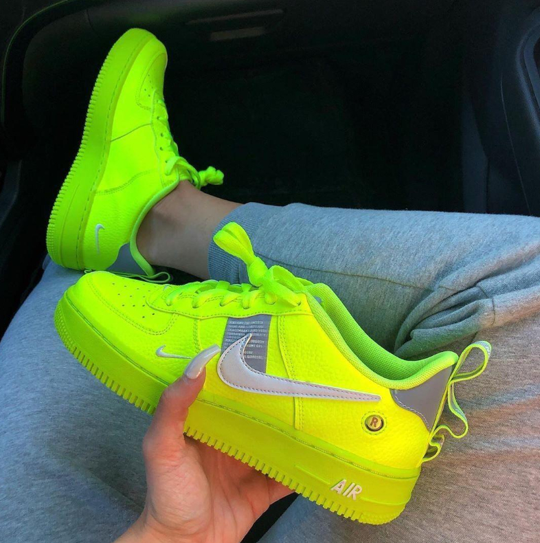 Image of Nike  Air Force 1 Fluorescent Green Couple Sports Shoes