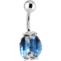 Sterling Silver 925 Sapphire Austrian Crystal Scroll Twist Belly Ring | Body Candy Body Jewelry