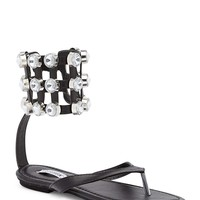 Cape Robbin Black Rhinestone Cuff Anklet Thong Sandals Faux Leather