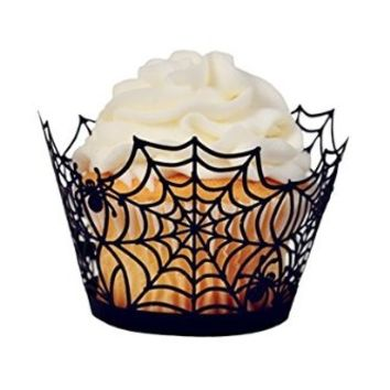 Buy Home Laser Cut Paper Orchid Spider Web Cupcake Wrappers Liners Wedding Birthday Party Halloween Cake Decoration Wraps Wholesales Lot (12, Black)