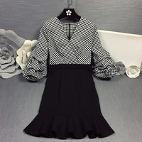 """Dior"" Women Elegant Temperament Multicolor Tartan Middle Sleeve Lantern Sleeve High Waist Frills Fishtail Mini Dress"