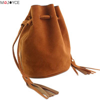 Fashion Retro Nubuck PU Leather Drawsrting Tassel Barrel Bag Shoulder Crossbody Ladies Bucket Bag Handbags