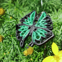 Eco-Friendly Paper Quilled Pendant Large Butterfly - Emerald Green and Black - quilling paper jewelry, paper pendant, butterfly pendant
