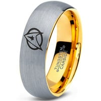 Star Trek Inspired 18k Yellow Gold Silver Dome Tungsten Ring