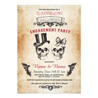 Skull Engagement Party Halloween Gothic Invite