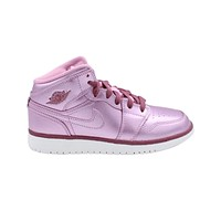 Air Jordan Kid's Retro 1 I Mid GS Pink Rise White