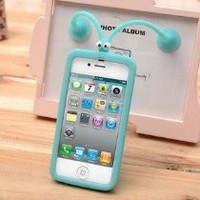 NEW Glow in the Dark Silicone Case with Suction Cups for Iphone 4/4s (Blue)
