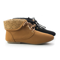 Tiktok83 Embroidered Folded Ankle Cuff Lace Up Ankle Flat Booties
