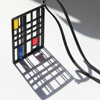 Mondrian inspired necklace, laser cut acrylic, modern classic. free charms bonus grand opening