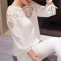Women 3\4 Sleeve Lace Hollow Shirt Casual Chiffon Blouse Black White