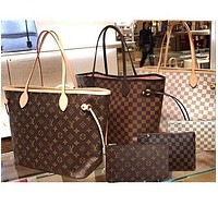 LV Louis Vuitton classic hot sale ladies printed letters two-piece shopping bag shoulder bag