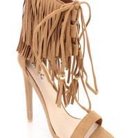 Camel Fringe Single Sole High Heels Faux Suede