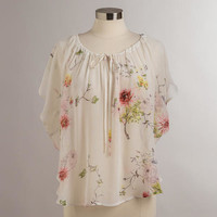 White and Pink Floral Lily Blouse