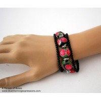 3-Strand Pink Rose Bracelet with Handmade Polymer Beads and Black Czech Round Beads, Designer Jewelry - Blue Morning Expressions
