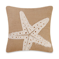 Burlap Starfish Embroidery Square Toss Pillow