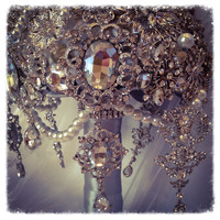 The Great Gatsby Brooch Bouquet.Deposit on Vintage Diamond Jeweled Crystal Pearl Brooch Bouquet.Broach Bouquet with dangling jewelry