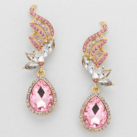 Pink Hematite Floral Drop Crystal Earrings