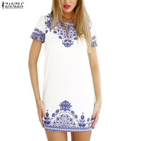 Women 2015 Casual Sexy Tshirt Dress Summer Style Vintage White Blue Porcelain Print Short Sleeve Beach Dresses Vestidos de festa