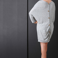 Back Button Accent Dolman Sleeves Sweater Dress