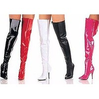 """Seduce 3010 Single Sole 5"""" Heel Thigh High Boots 6-16 Red Black White Pink"""