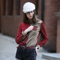 Veri Gude Polka Dot Blouse Women Button-down Shirt Contrast Color