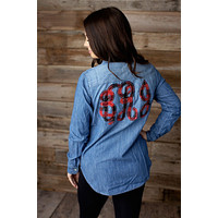 Fabric Monogrammed Chambray Button Up Shirt - 2020