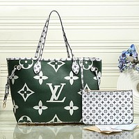 Louis Vuitton LV Women Fashion Leather Handbag Tote Satchel Set Two Piece