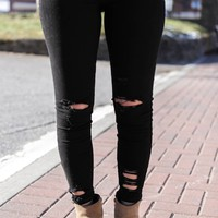 Destroyed Ankle Jeans, Black