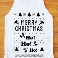 HO HO HO Merry Christmas TShirt Santa Shirt Merry Christmas Shirt Women Tank Top Unisex Shirt Vest Sleeveless Singlet Top Women Shirt S,M,L