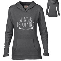 Game of Thrones Inspired Clothing - Winter is Coming Semi-Fitted Lightweight Pullover Hoodie - Ladies