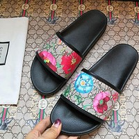 GUCCI Flower Shoes Slippers Women Men Sandals Fashion Shoes Double GG Print Shoes Black