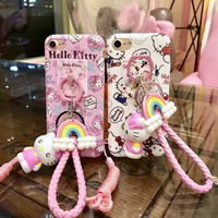 2017 New Cute Cartoon Hello kitty My Melody soft silicon tpu phone Case For iPhone 7 6 6s Plus with ring doll strap Cover